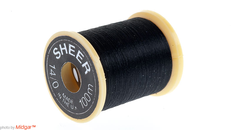Sheer #14/0 tying thread is a thin and light waxed thread. It is superb to tie small as large flies. On each spool there is 100 meter of thread. Sheer #14/0 tying thread is delivered in these colors; red, brown, black, cinnamon, white and olive.