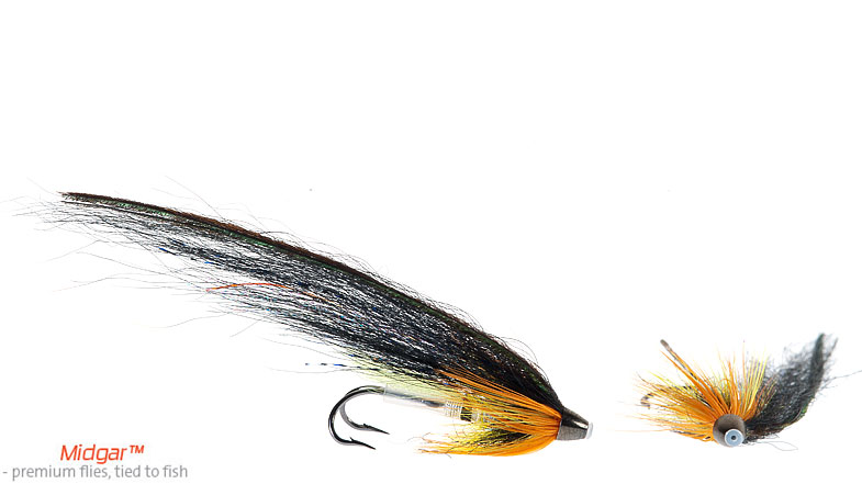 Midgar Cascade has has a nice contrast between yellow, orange, black & silver. The color combination has proved itself to e very good, and fish take this fly throughout the whole season. Cascade was originally a longtail tie, but the hairwing version has proven to bring home the bacon as well, many times. Delivered in 48, 60, 69, 75 and 95 mm. Highly recommended.