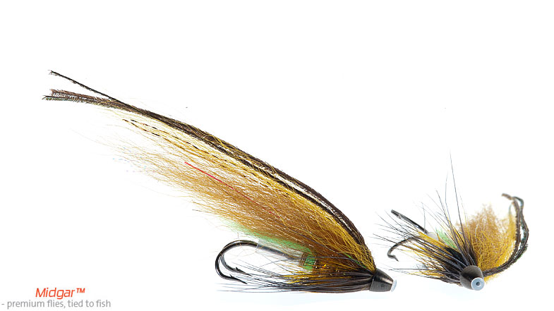 Midgar Golden Olive is a very effektive fly for summer and autumn fishing, and for rivers that are slightly colored or have a dark bottom. It is never a mistake to put this fly on when water temperature has reached 10-11 degree. the smaller sizes are very good from July to October. Delivered in 48, 60, 75 og 95 mm. Highly recommended.