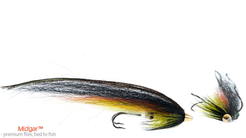 Midgar Highlander, Black, has a very good color combination making it a winner almost wherever the fly is fished. From the clearest gin-clear rivers to darker rivers, it`s a killer! The fly is delivered in five sizes from 48, 60, 75, 95 and 115 mm. This is one of the 5 flies every salmon flyfisher should have in their box!