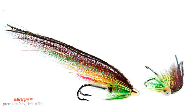 Midgar Highlander, Green, is the classic salmon fly pattern that has steadily produced since the 1870-ies. The bright colors in the wing has attracted salmon and fly fishers since then, and a fly box without this pattern is a naked fly box. The patternr produce good in sunny and overcast days throughout the season. Highly recommended. Delivered in size 48, 55, 60, 69, 75 and 95 mm.