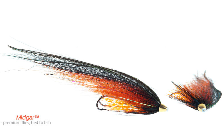 Midgar Orange Lazer is the ultimate spring and early season fly. It has a good and strong contrast between the hot orange underwing and black ovewing, as well as a strong orange lazer body. This fly can make the big difference... Delivered in 5 sizes; 48, 60, 69, 75, 95 and 115. This fly should be in every flyfisher`s fly box.