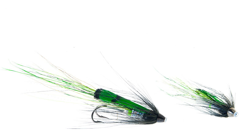 Midgar Bristle Shrimp, Black Mojito, has a strong contrast bewteen green, black and silver, and has shown very good results in clearer rivers during the day, and in particular under bright sunny conditions and rain! It is a typical fly that we strongly recommend for fishing first half of the season. The fly comes in lenghts from 43, 53, 65 og 80 mm.
