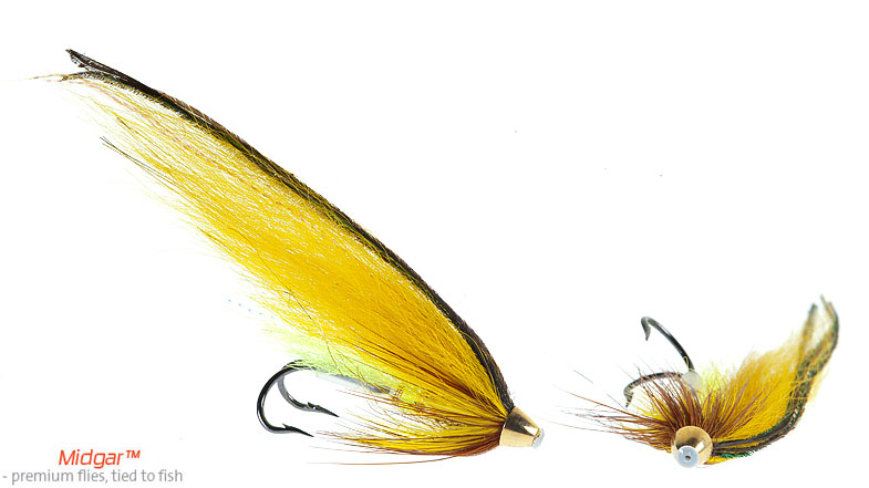 Midgar Olli. First tied in 1999 for summer fishing in the river Namsen. Later on, after having fished so well in the Gaula and The Alta, as well, it got its final name in 2001 when Oliver was born! The golden olivish mustard color of this fly has proven to be very effective, and therefore this fly is highly recommended. Delivered in size 48, 60, 69, 75 and 95.