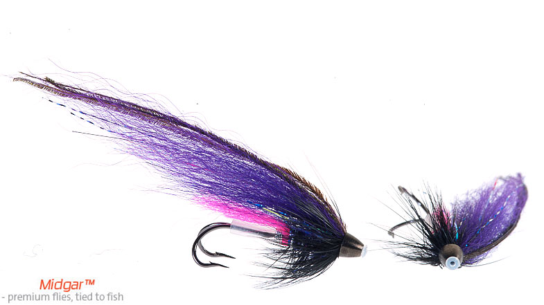 Midgar Purple Night is a typical summer, autumn fly. It has shown good results for fresh fish during evenings in june, july, but as summer moves on, this fly can be used more and more during daytime. Use the larger versions in June, July, the smaller versions later on in the autumn. Small fly, big salmon! Delivered in size 48, 60, 69, 75 and 95 mm. Highly recommended summer and autumn fly.