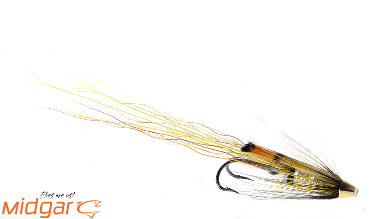 Midgar Bristle Shrimp, Shitey Whitey, is a fly with good contrast, but warm colors. With a combination of silver, olive and fiery brown, it has produced a lot of takes in clear to lightly colored rivers. The fly was born on the River Spey! The fly is delivered in size 25, 33, 43, 53, 65 og 80 mm. We strongly suggest you to put this fly on your leader to bring home the bacon!