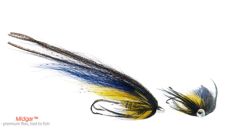 Midgar Swedish Sargent has shown very good results in clear rivers. It is a pattern that is doing good all through the season. The color of the fly is a mix of natural peacock body, yellow and black, and this combination has proven for a long time to be a winner recepie for large salmon. Deievered in size 48, 60, 69, 75 and 95.