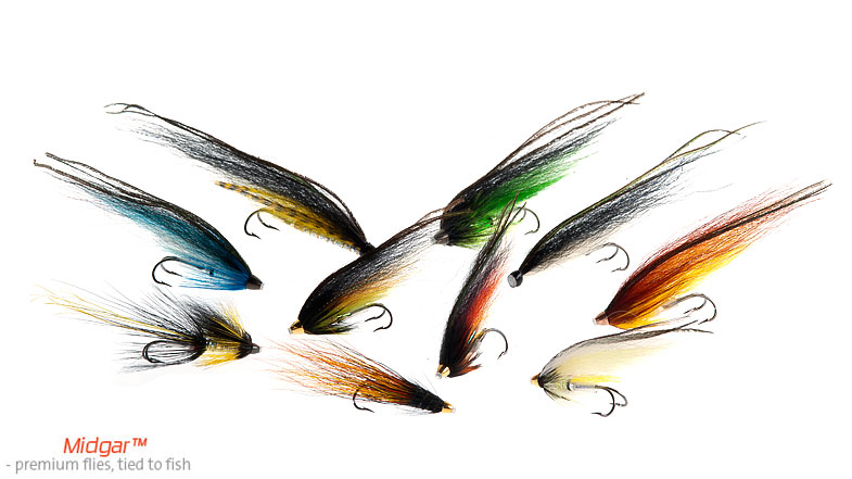 Our selection of salmon flies is wide. As Atlantic Salmon Fishing is done in numerous rivers in Norway, Scotland, Canada and on the Kola Peninsula, one river different from the other, different patterns, in numerous sizes and dressings on salmon irons or tubes, are needed. From our selection of Midgar Micro Tube Patterns,Midgar Full Blooded Tubeflies and our new selection of Midgar Longtails, as well as low-water dressed on tubes and salmon irons, you should be able to find flies that bend your rods and make your reels scream! Enjoy!